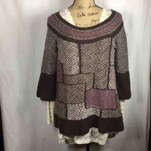 Free People Sweater Brown/Pink Patchwork Small
